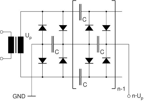 High voltage on circuit diagram voltage multiplier Voltage Booster Circuit Diagrams Sine Wave Frequency Multiplier Schematic